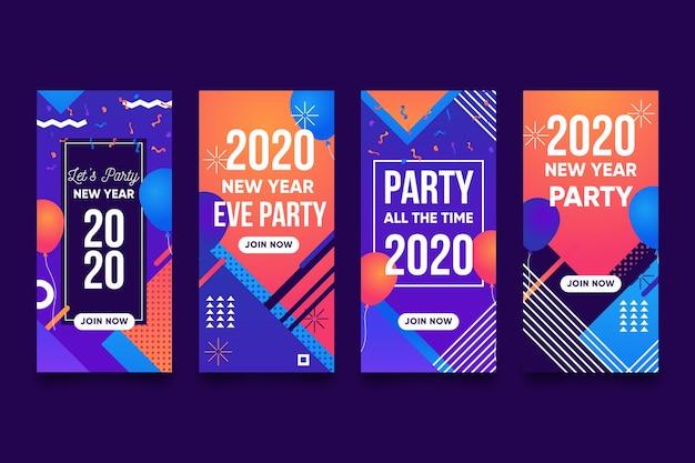 Set de historia de instagram de fiesta de año nuevo