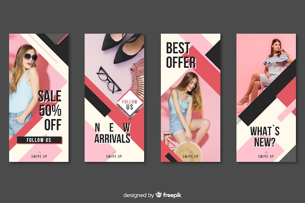 Set de historias de instagram de rebajas de moda