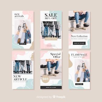 Set de historias de instragram de compra de moda
