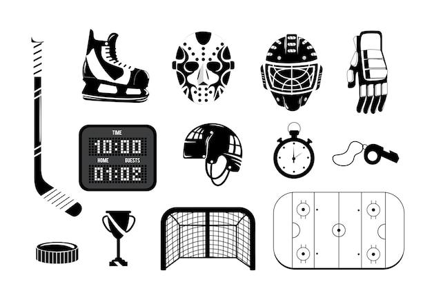 Set de hockey con equipo profesional para jugar.