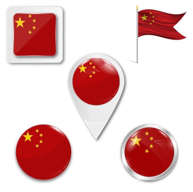Set de iconos bandera nacional de china