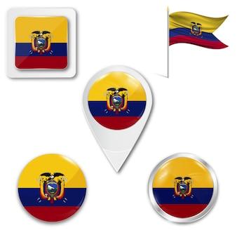 Set de iconos bandera nacional de ecuador.