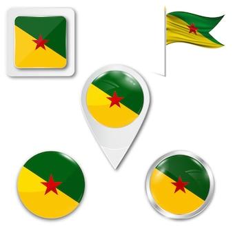 Set de iconos bandera nacional de la guiana francesa