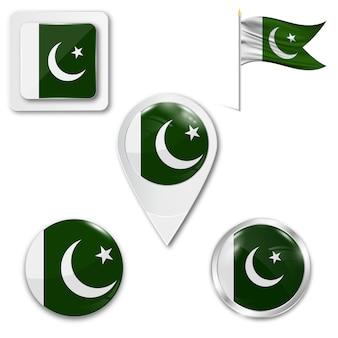 Set de iconos bandera nacional de pakistán