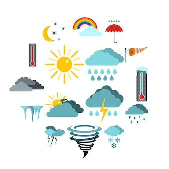 Set de iconos de clima, estilo plano