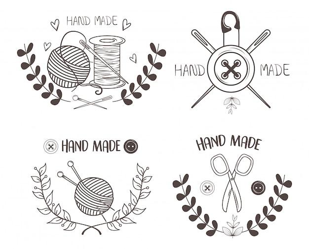 Set de iconos de costura hechos a mano