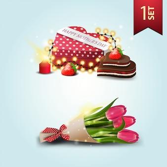 Set de iconos para el día de la madre, regalo en forma de corazón y ramo de tulipanes.