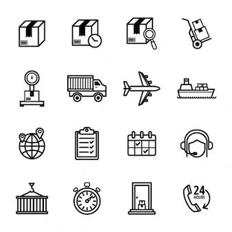 Set de iconos de entrega de paquetes