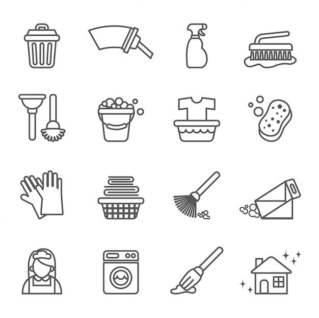 Set de iconos de limpieza.