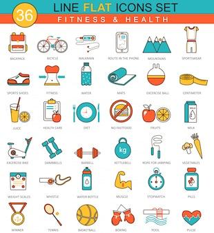 Set de iconos de línea plana de fitness y salud