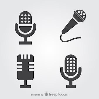 Set de iconos de micrófonos
