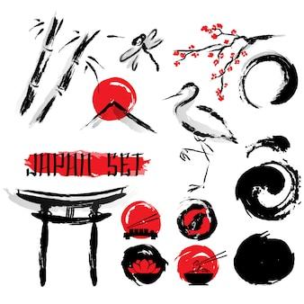 Set de iconos de pintura japonesa sumie ink