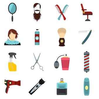 Set de iconos planos de peluquería