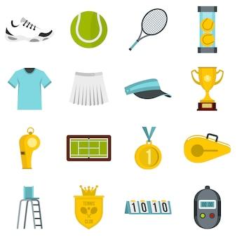 Set de iconos planos de tenis