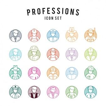 Set de iconos de profesiones