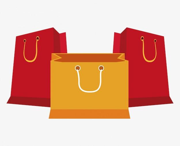 Set iconos de tienda de regalos de bolsa