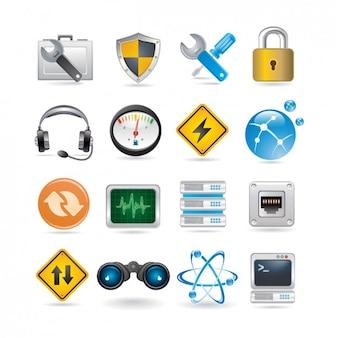 Set de iconos de trabajo en red