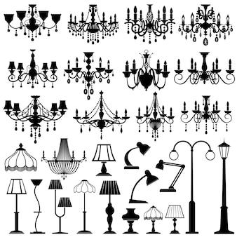 Set de iluminación, lámparas y lámparas de araña para el hogar y el exterior.