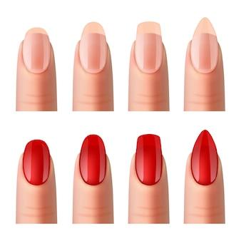 Set de imágenes realistas de manicura de uñas de mujer.