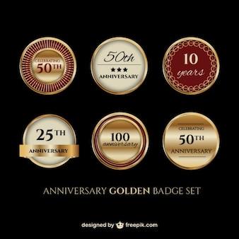 Set de insignia dorada de aniversario
