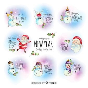 Set de insignias de año nuevo a la acuarela