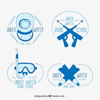 Set de insignias bonitas de submarinismo dibujadas a mano