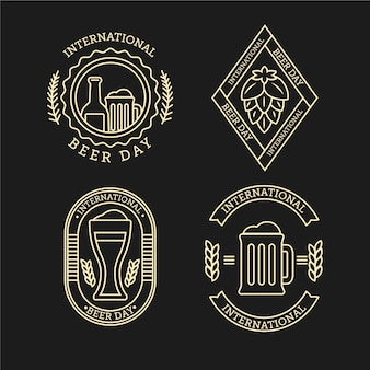 Set de insignias del día internacional de la cerveza