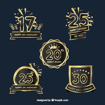 Set de insignias doradas de aniversario