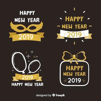 Set de insignias de felicitación de año nuevo 2019