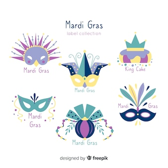 Set de insignias de mardi grass