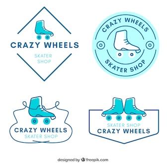 Set de insignias de patines dibujados a mano