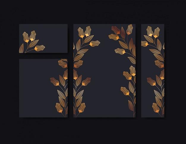 Set de invitaciones tarjetas con decoración floral.