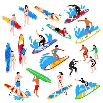 Set isométrico de surf