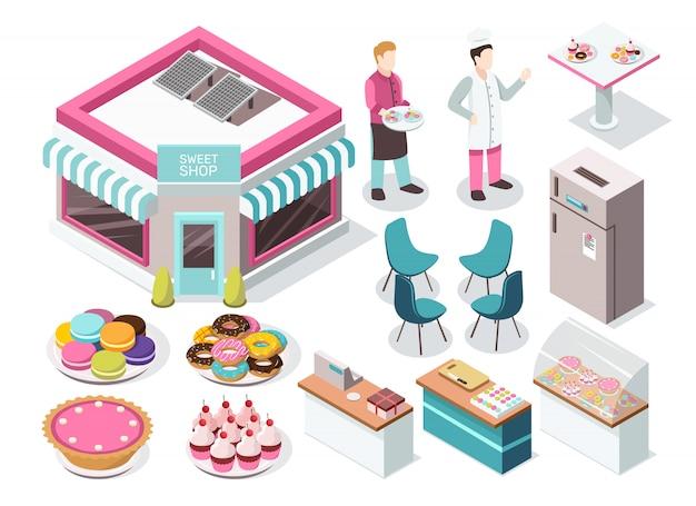 Set isométrico tienda de dulces