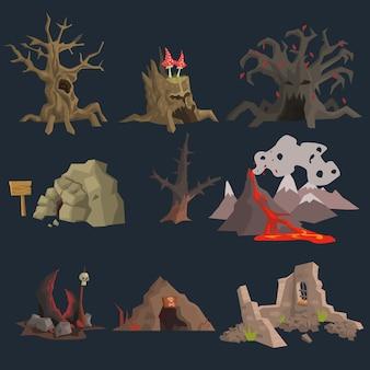 Set de juego de pantano, árbol y cueva