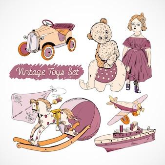Set de juguetes infantiles dibujados a mano