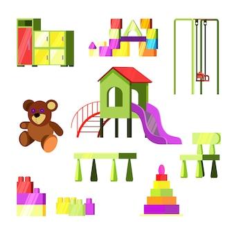 Set de juguetes y juegos infantiles.