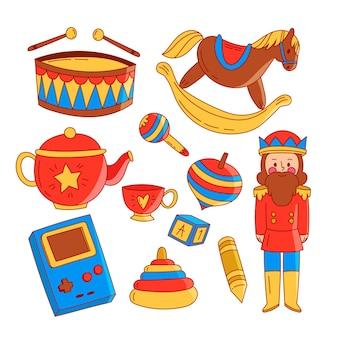 Set de juguetes navideños dibujados a mano
