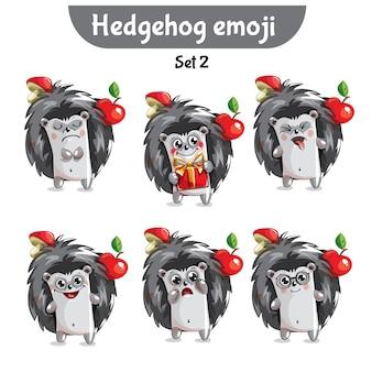 Set kit colección pegatina emoji emoticon emoción vector ilustración aislada carácter feliz dulce, lindo erizo