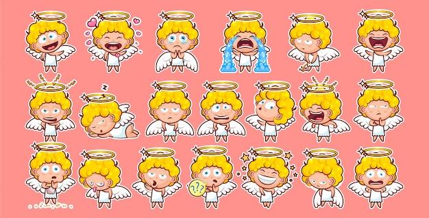 Set kit colección pegatina emoji emoticon emoción