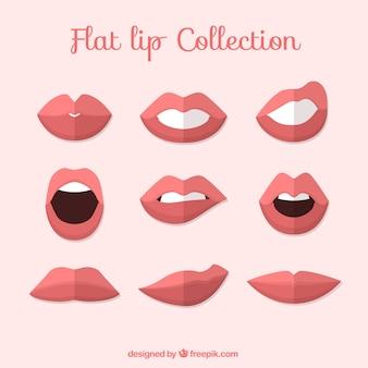 Set de labios en diseño plano