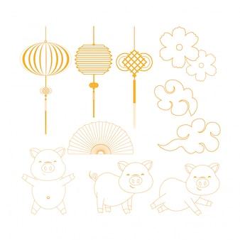 Set de lámparas chinas con abanico y cerdos tradicionales.