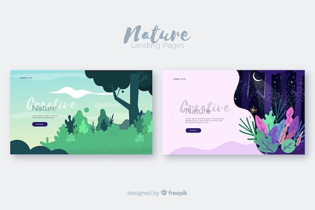 Set de landing pages de naturaleza