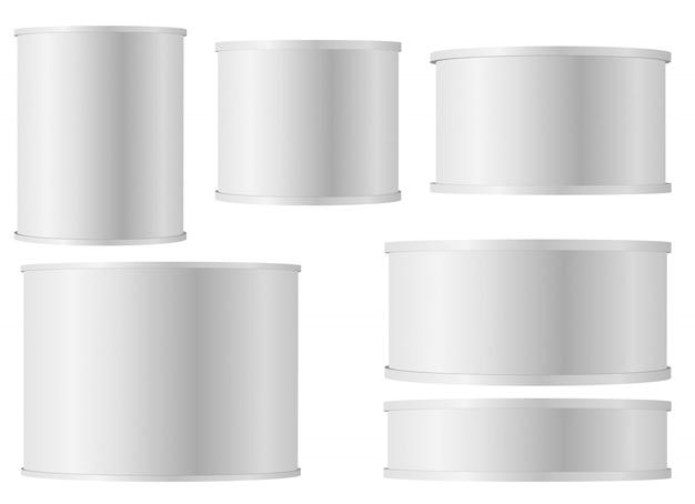 Set de latas blancas con tapa de plástico.