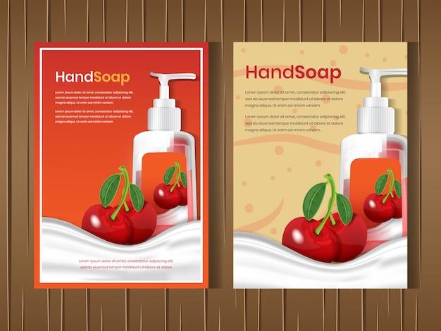 Set de lavado facial y corporal con aroma a fruta cereza.