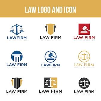 Set law logo y plantilla de diseño de icono