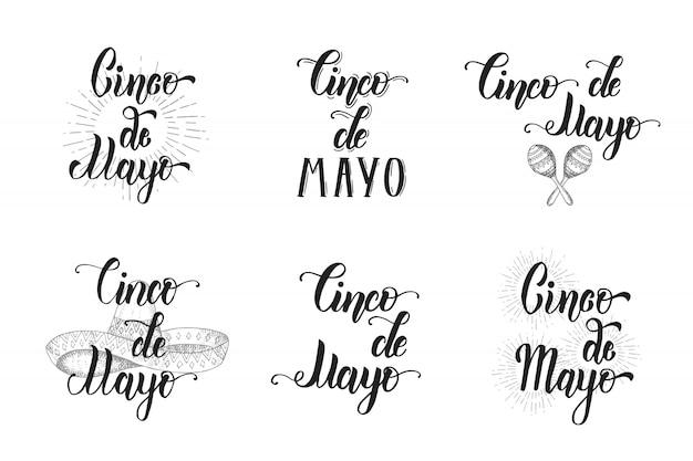 Set de letras hechas a mano del cinco de mayo