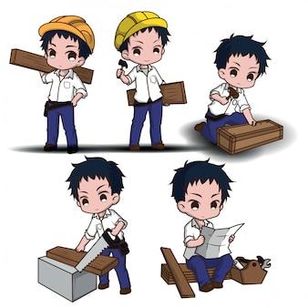 Set lindo carpintero amable, vestido con ropa de trabajo y con una madera.