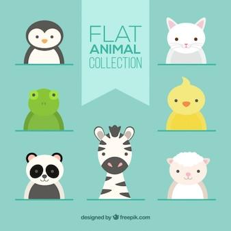 Set de lindos animales en diseño plano
