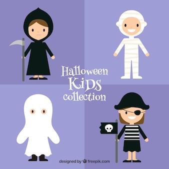 Set de lindos niños disfrazados de halloween